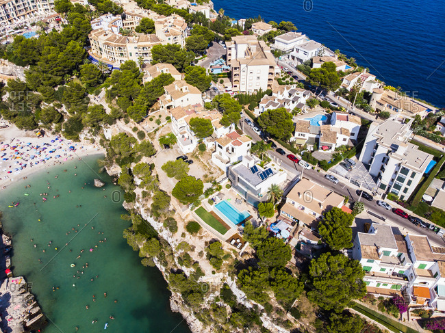 Spain- Balearic Islands- Mallorca- Llucmajor- Aerial view of bay of Cala Pi and beach