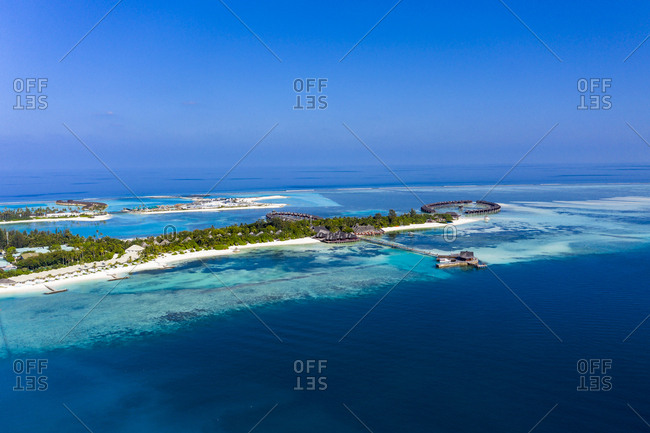 Maldives- South Male Atoll- aerial view of island Olhuveli