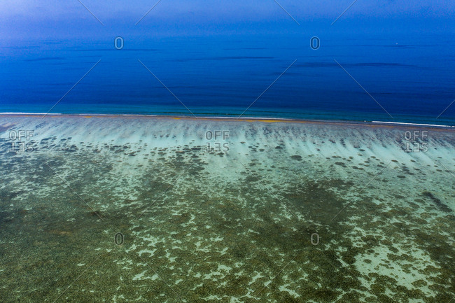 Maldives- South Male Atoll- aerial view of reef of an atoll