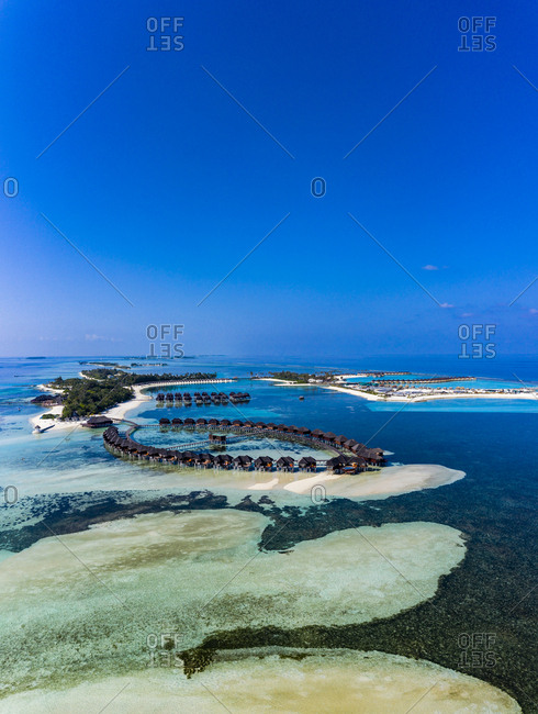 Maldives- South Male Atoll- aerial view of resort on islands Olhuveli and Bodufinolhu