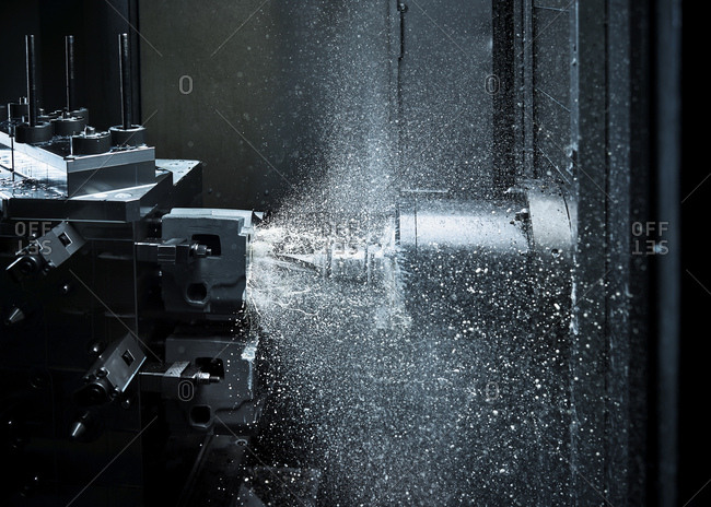 CNC machine drilling with coolant