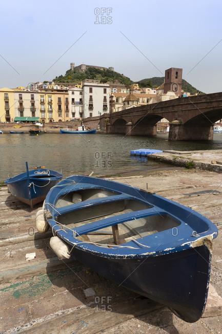 Italy- Sardinia- Bosa- boats at River Tirso