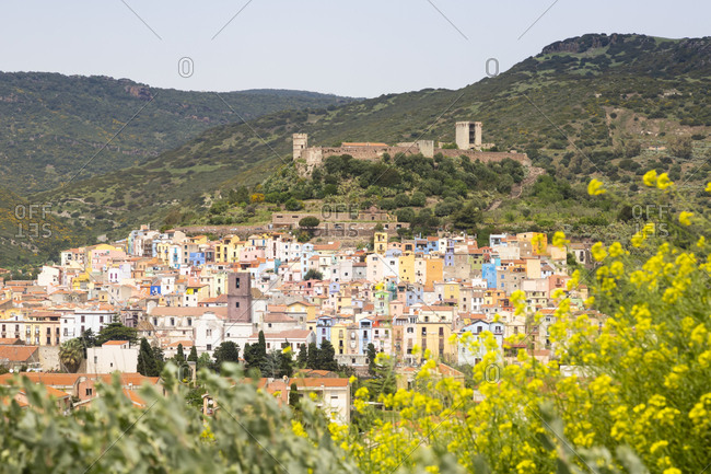 Italy- Sardinia- Bosa- townscape with Castle of Serravalle
