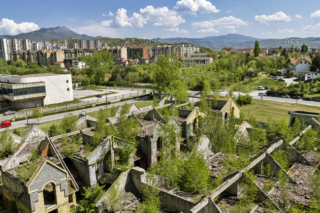 April 23, 2018: Bosnia-Herzegovina- Sarajevo- Shelled building