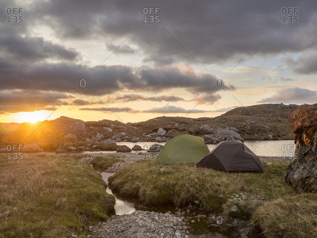 Great Britain- Scotland- Northwest Highlands- Ben More Assynt- tents at sunrise