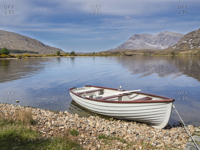 Great Britain- Scotland- Northwest Highlands- Achfary- mountain landscape with lake and boat