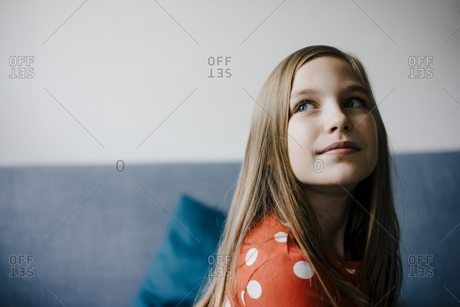 Portrait on confident girl at home
