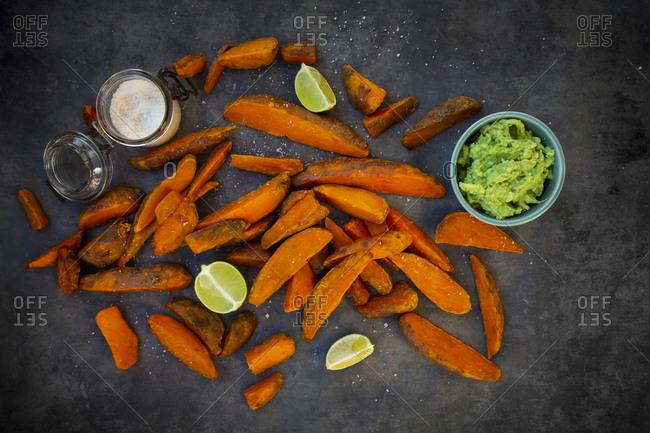 Sweet potato wedges with avocado dip and fleur de sel