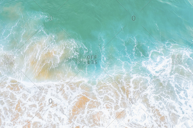 Portugal- Algarve- Sagres- aerial view of sea waves