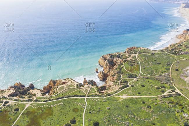 Portugal- Algarve- Lagos- Ponta da Piedade- aerial view of rocky coastline and sea