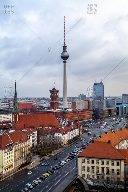 June 10, 2019: Germany- Berlin- view to television tower- Red City Hall and St. Nicholas church