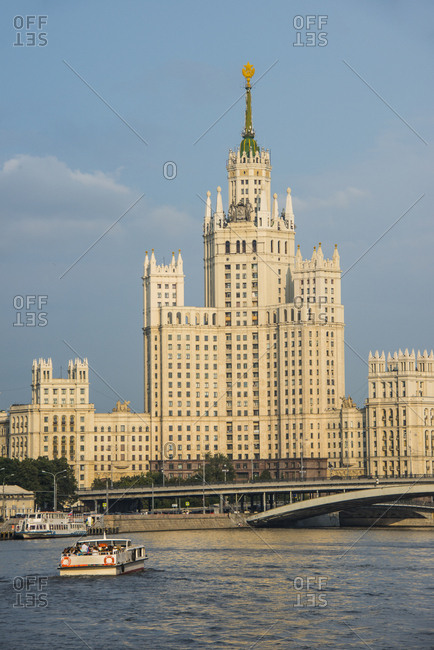 Russia- Moscow- river cruise along the Moskva before one of the Seven Sisters