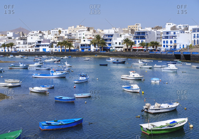 February 24, 2019: Spain- Canary Islands- Lanzarote- Arrecife- lagoon Charco de San Gines- fishing boats