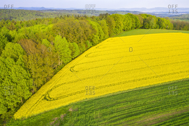 Germany- Baden-Wuerttemberg- Swabian Forest- aerial view of fields