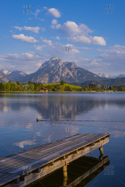 Germany- Bavaria- Swabia- Allgaeu- East Allgaeu- Hopfensee- Saeuling in the background