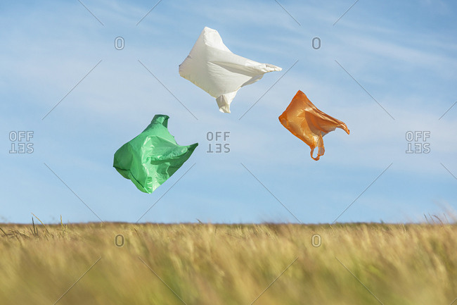 Three plastic bags floating above the meadow