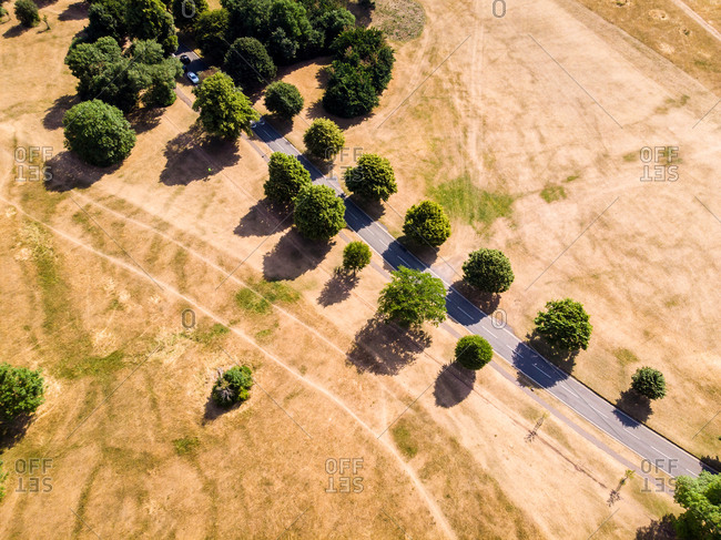 Aerial view of an indian summer shows the effects of climate change, Bristol, United Kingdom