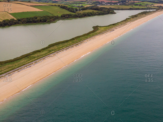Aerial view of Start Bay, Slapton Ley Nature Reserve and Slapton Sands near Torcross, South Devon
