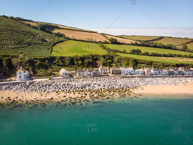 Aerial view of Beesands, between Hallsands and Torcross on the coast of Start Bay in South Devon, England.