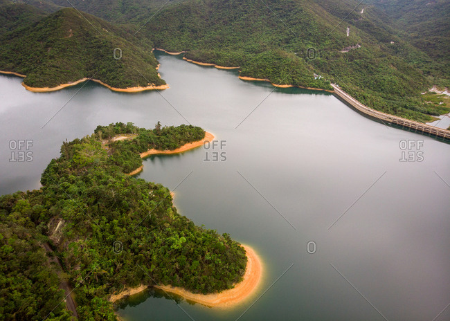 Aerial view of Tai Tam Tuk Reservoir, a popular area for hiking and picnics, Tai Tam Country Park, south side of Hong Kong.