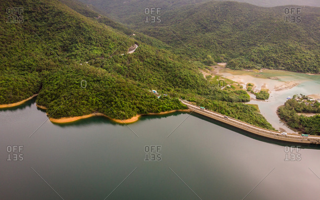 Aerial view of Tai Tam Reservoir Road, Tai Tam Tuk Reservoir, a popular area for hiking and picnics, Tai Tam Country Park, south side of Hong Kong.