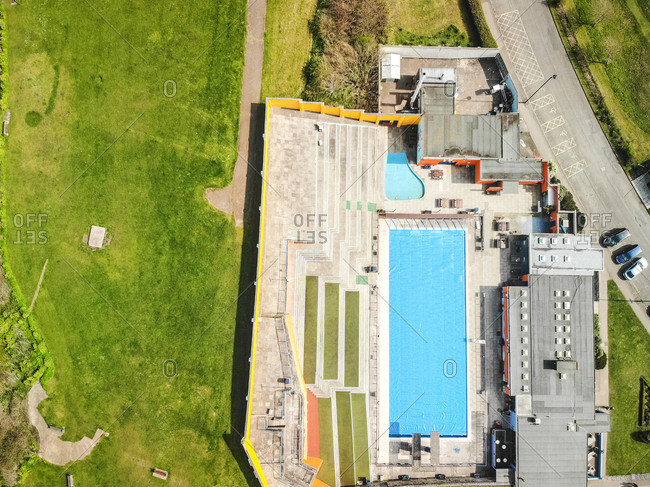 March 30, 2019: An aerial view of Portishead Open Air Pool, near Bristol, United Kingdom, before it opens for the summer season.