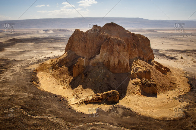 Aerial view of Aruba Rock, an extinct volcano, in Suguta Valley, Northern Kenya