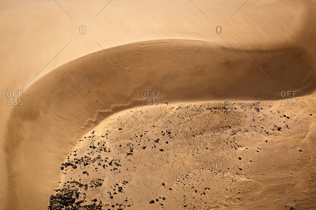 Aerial view of the change in elevation in the desert