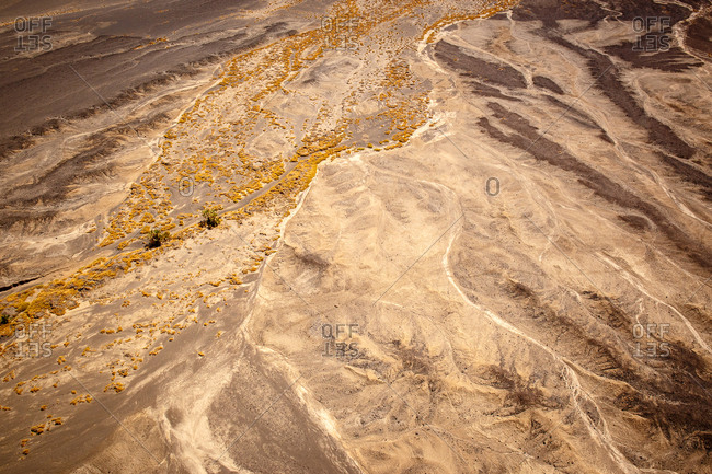 Aerial view of the arid landscape of Suguta Valley, part of the Great Rift Valley in  Kenya.