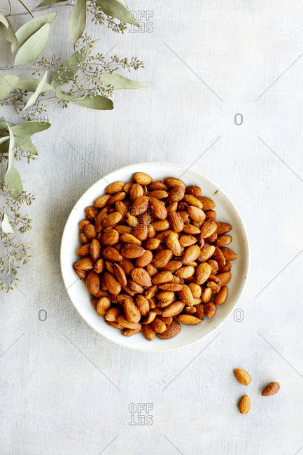 Plate of smoky almonds