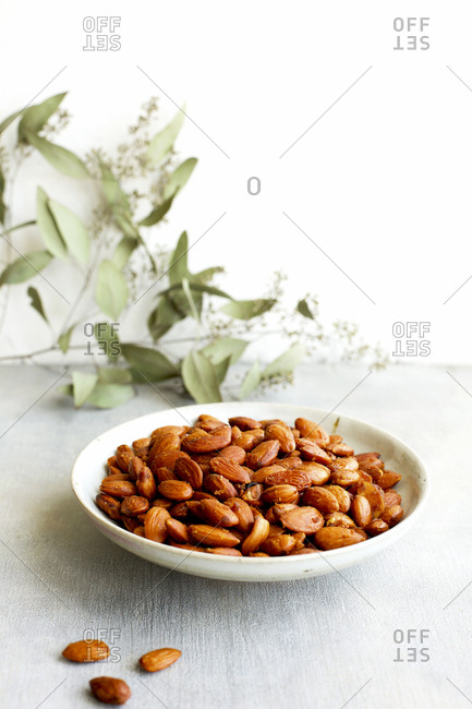 Plate of smoky almonds
