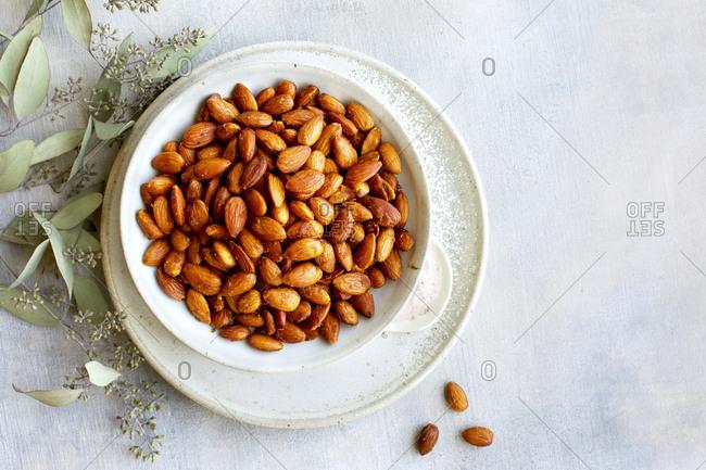 Plate of smoky almonds and Himalayan salt