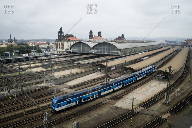 October 25, 2014: A train arriving at the main train station in Prague, The Czech Republic.