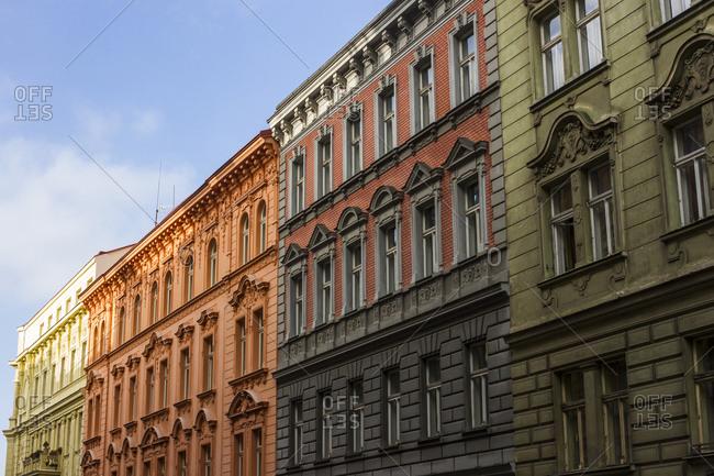 Colorful apartment blocks in Zizkov, Prague, The Czech Republic.