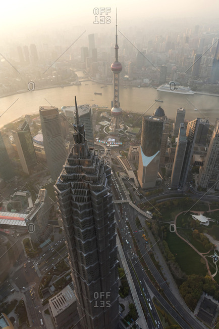 April 1, 2019: Aerial view of Shanghai skyline at sunset