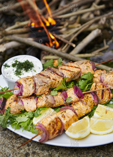 Grilled Salmon Kebabs on a Platter with Cilantro