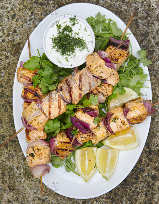Plate of Grilled Salmon Kebabs