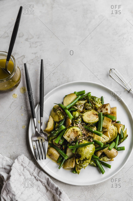 Roasted vegetable salad with brussels sprouts, potatoes, and haricots verts