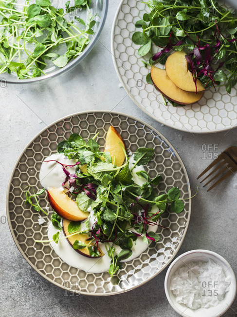 Ricotta salad with peaches and micro greens served on the gray plate