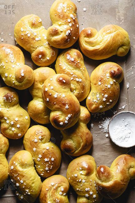 Traditional St Lucia buns decorated with sugar stars