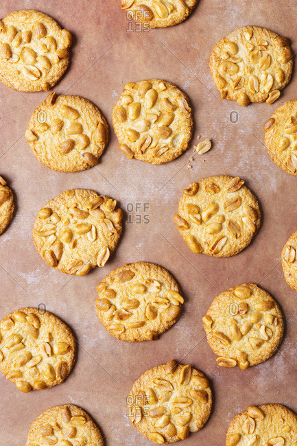 Scattered peanut biscuits.