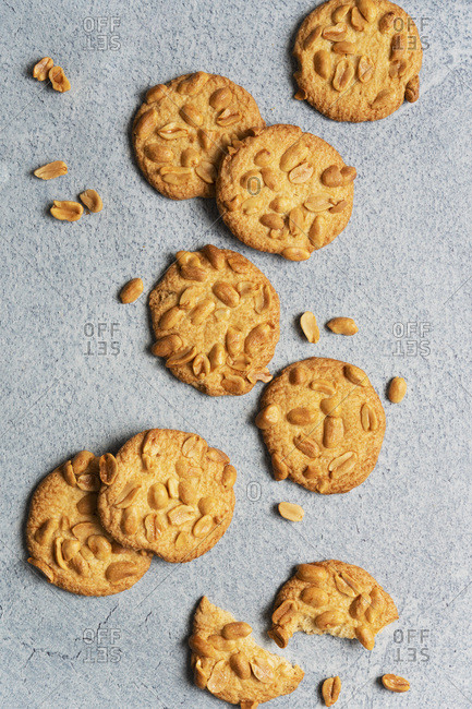 Crisp glazed peanut biscuits.