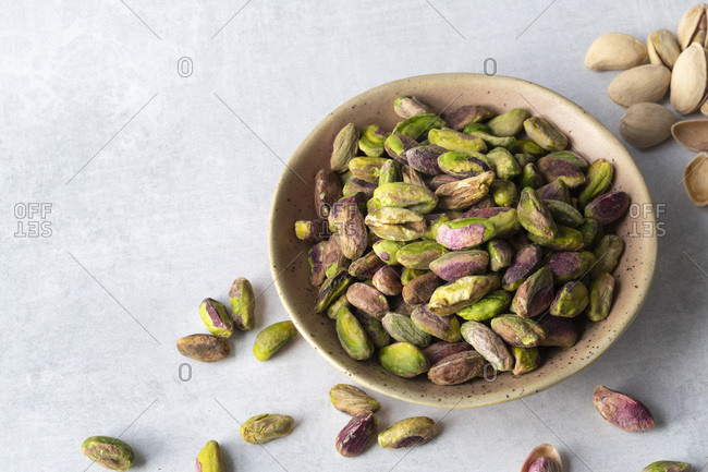 Roasted and salted pistachio nut kernels.