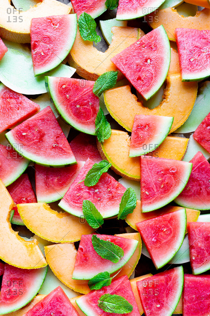 Watermelon, Cantaloupe and honeydew melon slices.