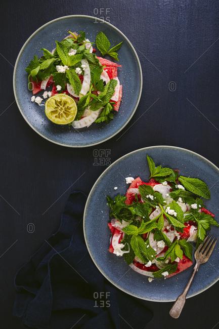 Watermelon salad overhead