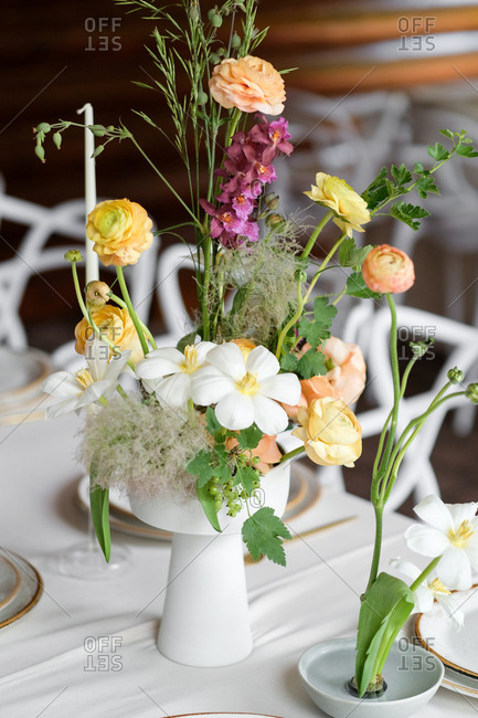 Colorful wedding flower centerpiece