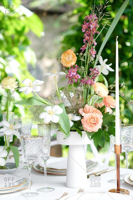 Wedding flower centerpiece with candles