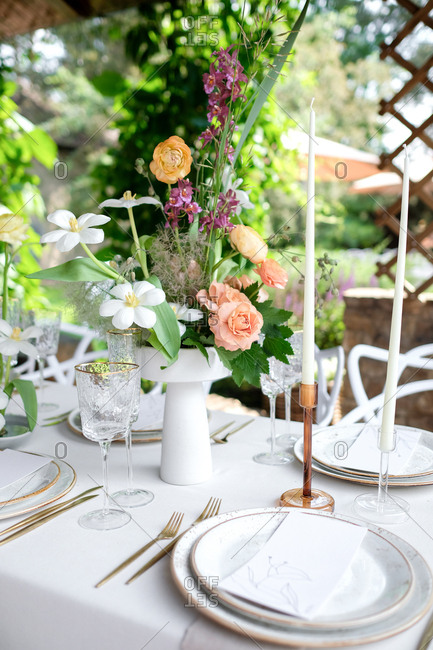 Beautiful wedding centerpiece with candles