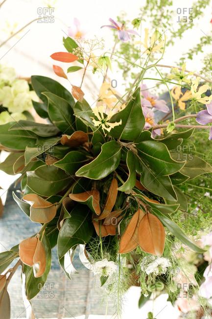 Hanging arrangement at an outdoor wedding