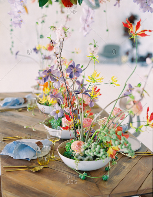 Colorful wedding flora arrangement on a table